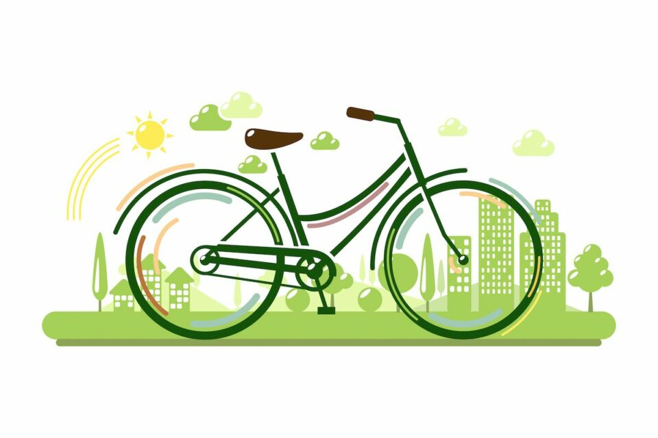 Bicycle with green eco city. Ecology concept vector illustration